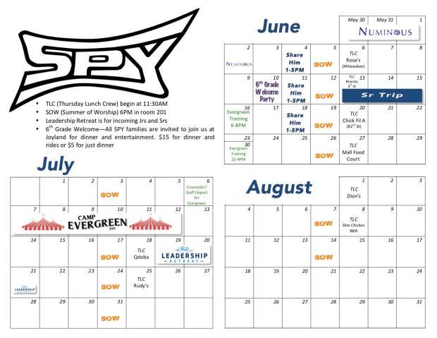 Summer Calendar 2019